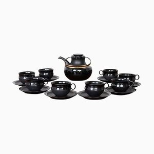 Tea Set Series Noire by Tapio Wirkkala for Rosenthal, 1960s, Set of 17