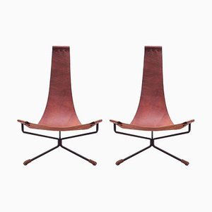 Lotus Chairs in Leather and Metal by Dan Wegner, 2014, Set of 2