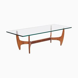 Large Mid-Century Brazilian Coffee Table with Glass Top, 1960s