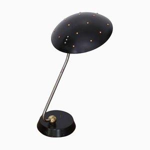 Große schwarze Tischlampe aus Chrom, Kupfer & Messing, 1950er