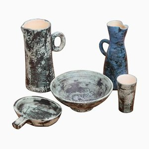 Ceramic Pieces by Jacques Blin, France, 1950s, Set of 5