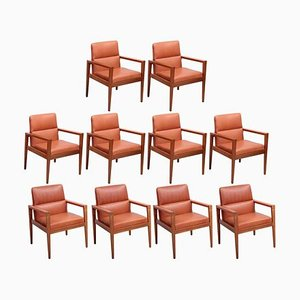 Armchairs in Walnut and Cognac Leather by Jens Risom, 1960s, Set of 10
