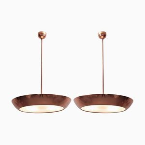 Copper and Glass Pendant Lamp by Josef Hurka for Napako, 1930s