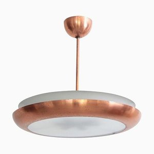 Bauhaus Copper and Glass Pendant Lamp from Josef Hurka, 1930s