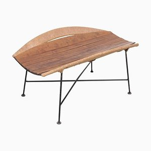 Wrought Iron Magazine Side Table or Bench by Arthur Umanoff, 1950s
