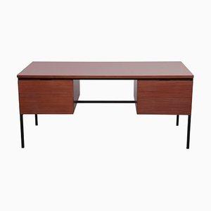 Schreibtisch aus Mahagoni mit grauem Resopal von Pierre Guariche für Minivelle, France, 1960er