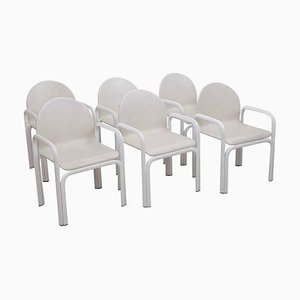 White 54A Armchairs in Leather by Gae Aulenti for Knoll, 1970s, Set of 6