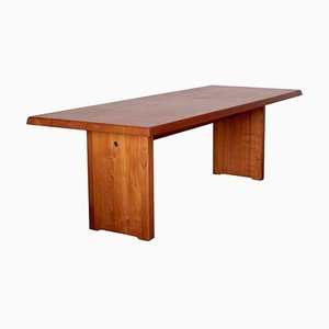 Large French Elm Model T14D Dining Table by Pierre Chapo, 1970s