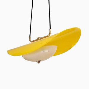 Italian Yellow and White Perspex Pendant Lamp, 1950s