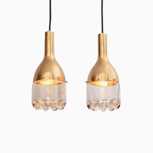 Pendant Lamp in Brass and Glass, 1960s