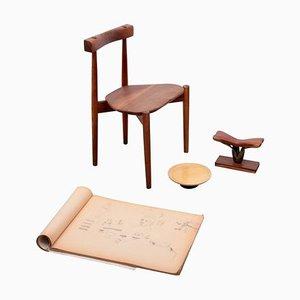 Stuhl, Servierteller, Skulptur und Skizzenbuch Set von Clarence Teed, 1960er, Set of 4