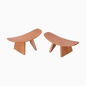 French Meditation Beech Shoggi Stools by Alain Gaubert, 1980s, Set of 2