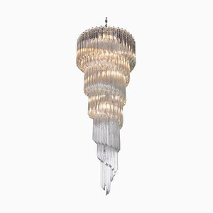 Large Murano Glass Spiral Chandelier in the Style of Venini