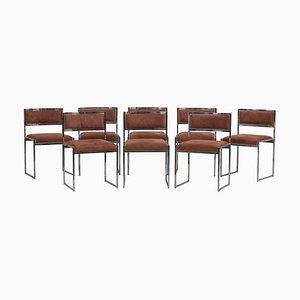 Messing Esszimmerstühle von Willy Rizzo für Jean Charles, 1970er, 8er Set
