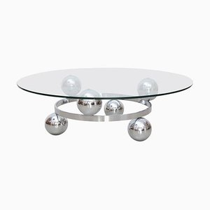 Round Chrome Sputnik Atomic Coffee Table with Glass Top, 1960s