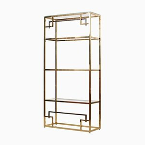 Brass and Gold-Plated Bookshelf or Étagère Attributed to Maison Jansen, 1970s