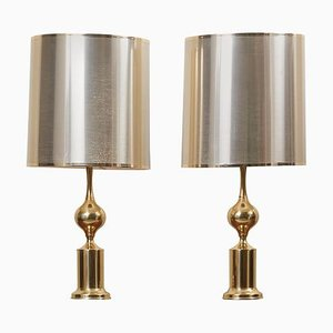 Large Hollywood Regency Brass Table Lamps with Metallic Shade, 1970s, Set of 2