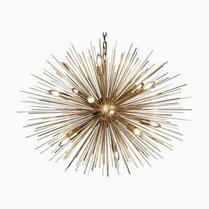 Monumental Brass Sputnik or Urchin Chandelier, 1970s