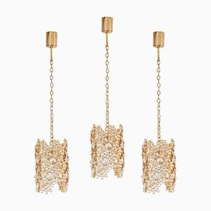 Gilded Brass and Crystal Glass Encrusted Pendant Lamp from Palwa, 1970s