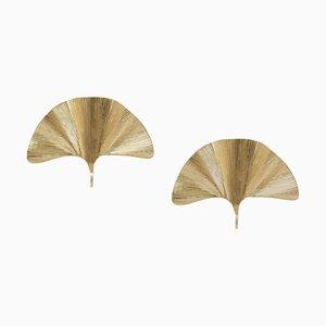 Applique grandi in ottone a forma di ginkgo nello stile di Tommaso, set di 2