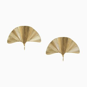 Large Ginkgo Leaf Brass Sconces in the Style of Tommaso, Set of 2