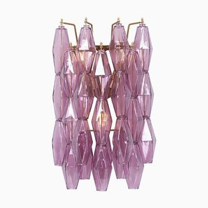 Amethyst Polyhedral Glass Sconce in the Style of Venini