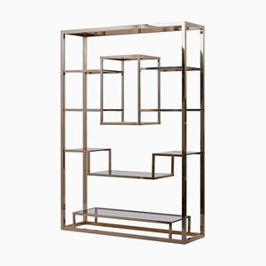 Large Brass and Tinted Glass Bookshelf or Étagère by Romeo Rega, 1970s