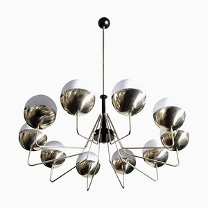 Large Brass and Glass Sputnik Chandelier in the Style of Stilnovo, 2000s