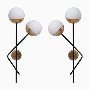 Messing und Glas Wandlampe oder Wandlampe von Stilnovo, 1970er
