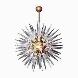 Large Murano Glass and Brass Chandelier