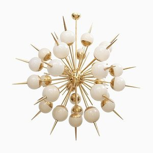 Large Sputnik Murano Glass and Brass Chandelier, 1980s