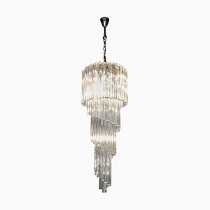 Murano Glass Spiral Chandelier from Venini, 1970s
