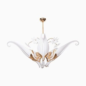 Seguso Chandelier with 5 Hand Blown Murano Glass Leaves by Franco Luce, 1970s
