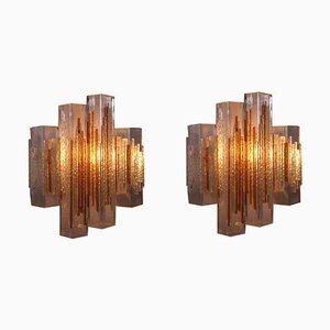 Italian Cubic Glass Sconces in the Style of Poliarte from Longobard, 1960s, Set of 2