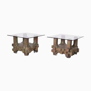 Brutalist Bronze Side Tables in the Style of Paul Evans, 1960s, Set of 2