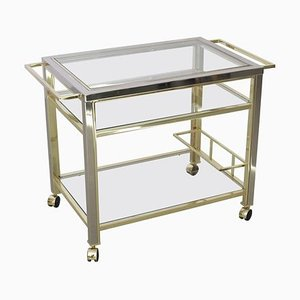 Bar Cart in Chrome and Brass Attributed to Willy Rizzo, 1970s