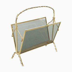 Brass and Glass Faux Bamboo Magazine Rack from Maison Baguès, 1960s