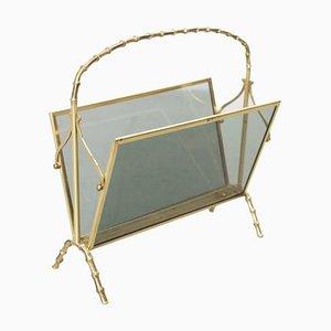 Messing & Glas Zeitschriftenständer in Bambus Optik von Maison Baguès, 1960er