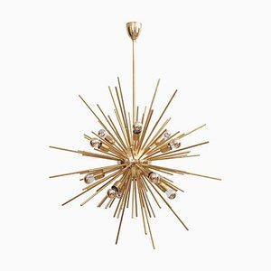 Large Brass Sputnik Chandelier, 1980s