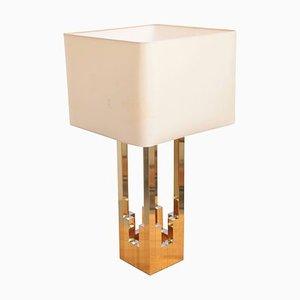 Grande Lampe de Bureau Lumica en Laiton et Chrome dans le Style de Willy Rizzo de Lumica, 1970s