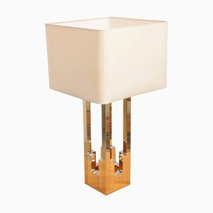 Large Brass and Chrome Lumica Table Lamp in the Style of Willy Rizzo from Lumica, 1970s