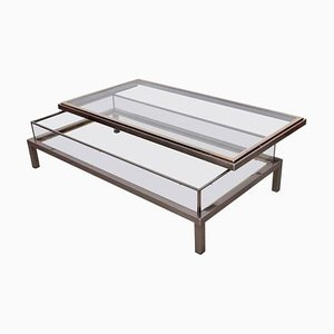 Large Sliding Top Coffee Table in Brass and Chrome from Maison Jansen, 1970s