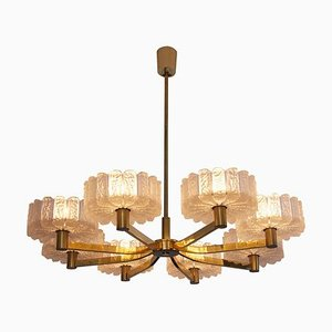 Large Italian Brass 8-Arm Chandelier, 1960s