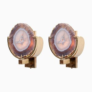 Agate Stone and Brass Wall Lamps or Sconces, 1970s, Set of 2