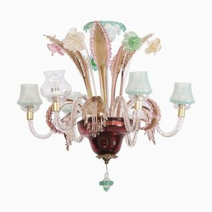 Multicolored Venetian Murano Glass Chandelier, 1920s