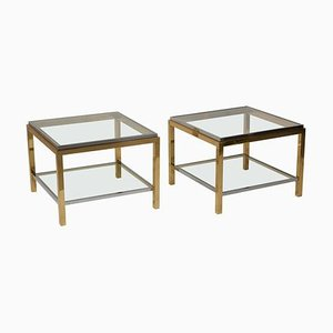 Brass and Chrome Side or Coffee Tables from Maison Charles, 1970s, Set of 2