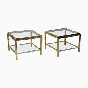 Tables Basses ou Tables Basses en Laiton et Chrome de Maison Charles, 1970s, Set de 2