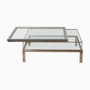 Sliding Top Coffee Table in Brass and Chrome from Maison Jansen, 1970s