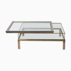 Table Basse avec Plateau Coulissant en Laiton et Chrome de Maison Jansen, 1970s