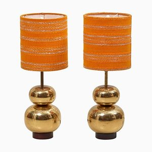 Bubble Brass Table Lamps, 1970s, Set of 2
